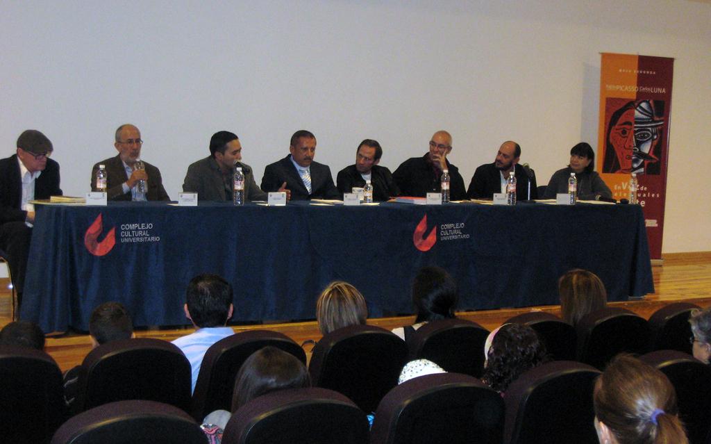 Francisco Hernández, Gerardo Ramos Brito, Carlos Luna, Enrique Aguera, Pedro Angel Palou, Santiago Espinosa de los Monteros, Ramón Almela, Elsa Hernandez, conference at the Complejo Cultural BUAP, Puebla, Mex. 2009