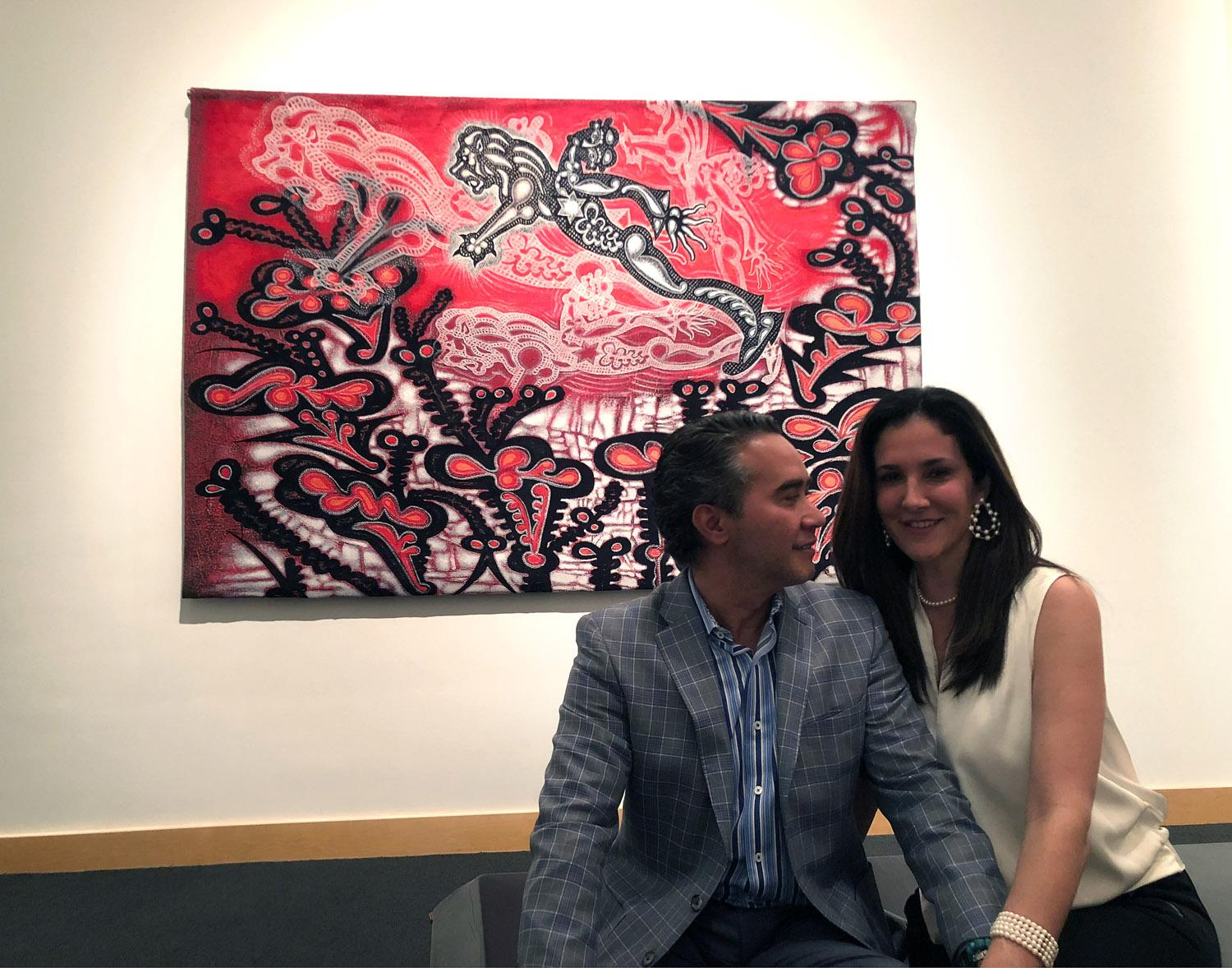 "Carlos and Claudia Luna with ""Sometimes"" at Nomadic Murals, Boca Raton Museum of Art, Boca Raton, FL, 2018"