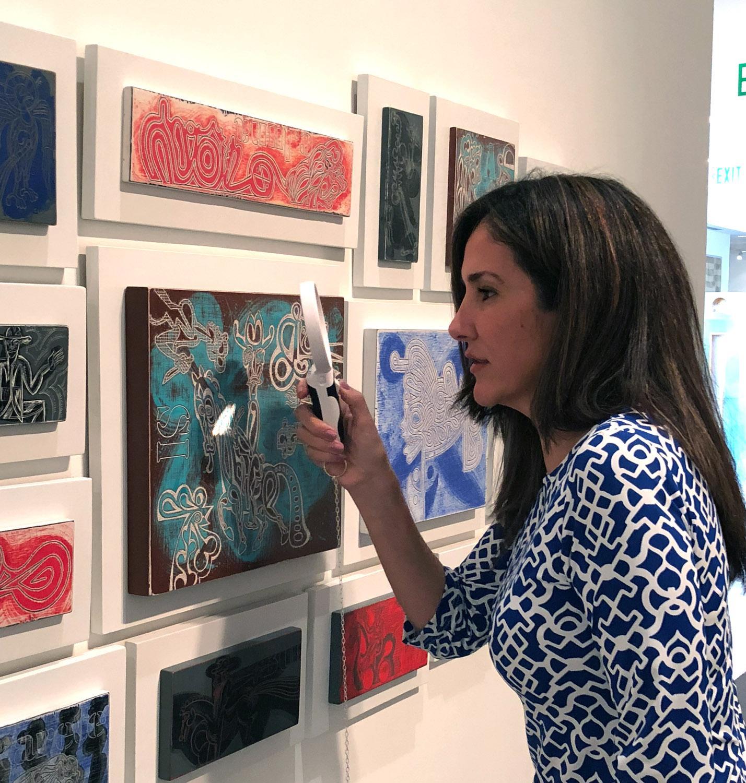 Claudia Luna en la exhibición Deep Line, Drawings by Carlos Luna; Boca Raton Museum of Art, Boca Raton, FL, 2017