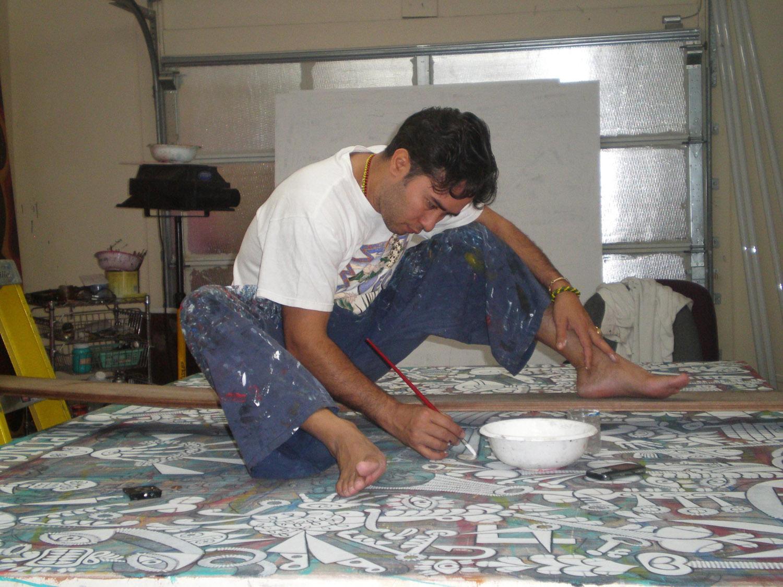 Carlos Luna working at his studio on El Gran Mambo, 2006